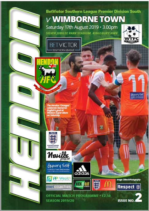 Hendon football club wimborne town program cover