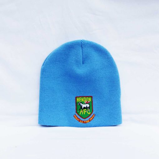 Hendon football club wool beanie hat it light blue