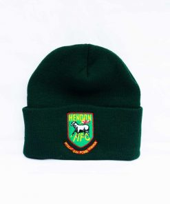 Wool hat with rolled brim, embroidered Hendon logo, in green. One size fits all.