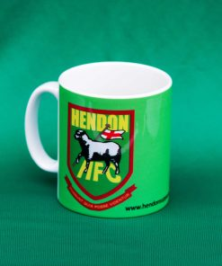 Ceramic mug with Hendon FC badge, in green