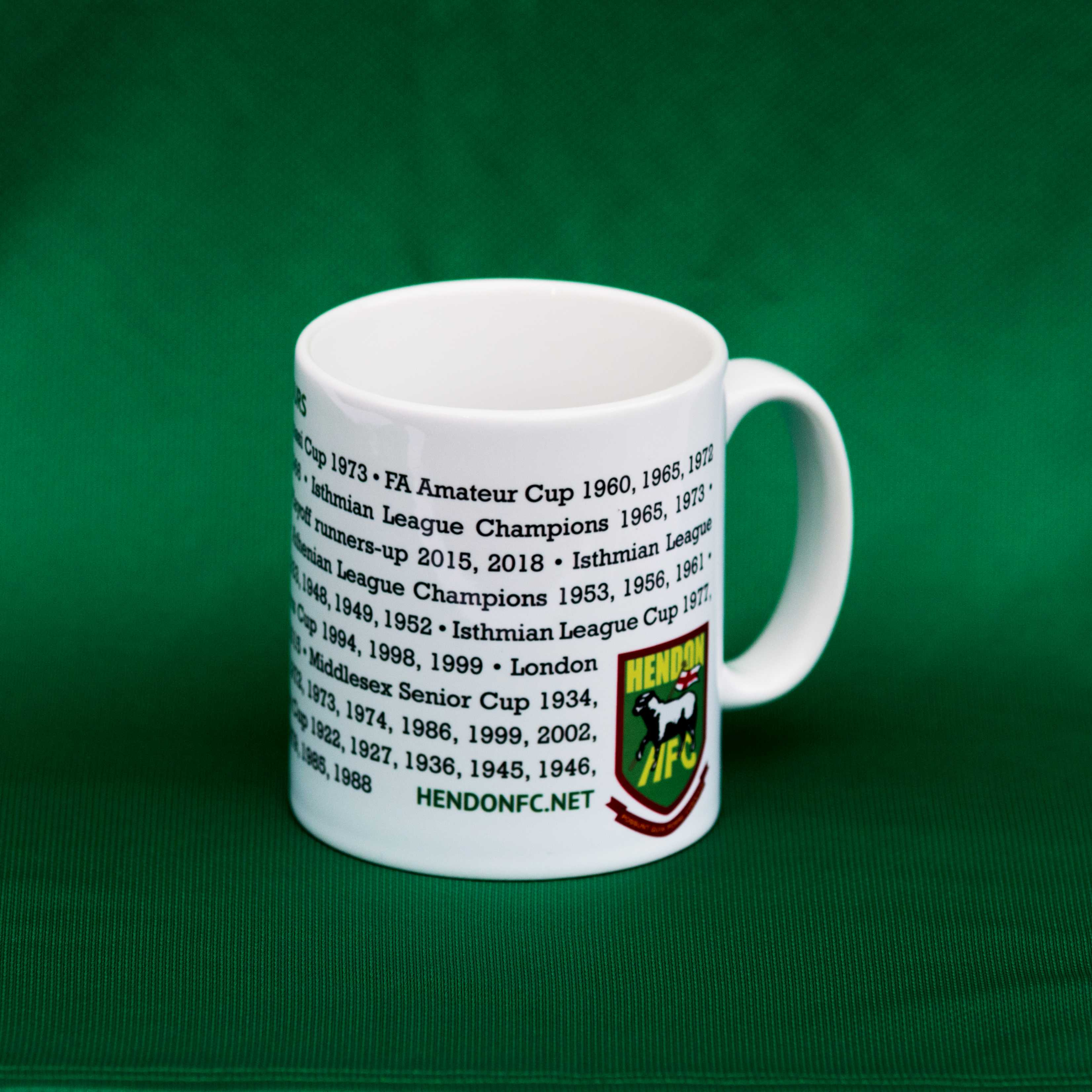 Ceramic mug with all of the Hendon FC honors earned since the club started in 1908. White.