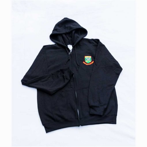 Front zip hoodie with embroidered Hendon FC crest, in black