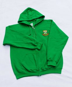 Front zip hoodie with embroidered Hendon FC crest, in green