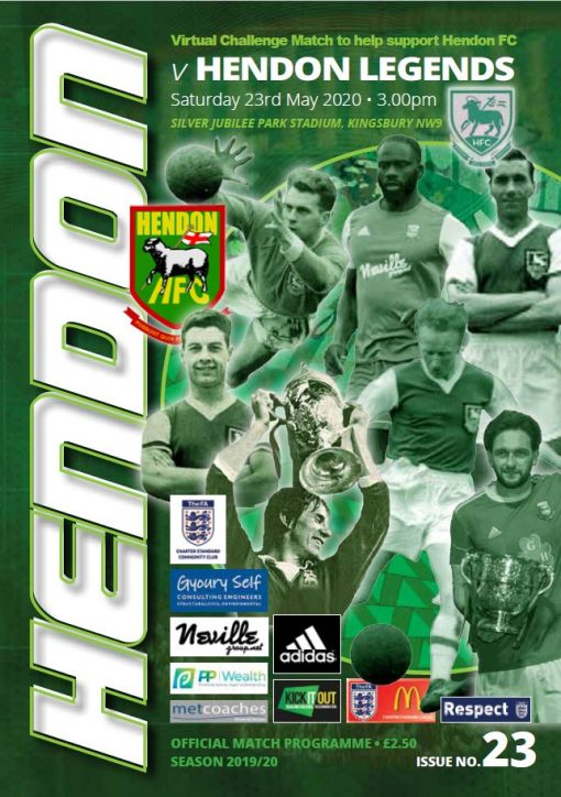 Hendon FC versus Legends match program cover